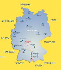 Mapa da Alemanha com destaque para a posição da Rota Romântica no sul do país