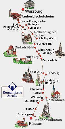 Mapa ilustrativo da Rota Romântica, em alemão