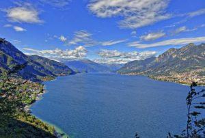 Vista aérea do Lago de Como na Itália